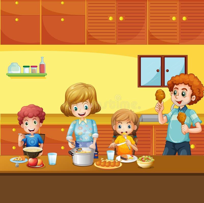 Familie, die Mahlzeit in der Küche hat lizenzfreie abbildung