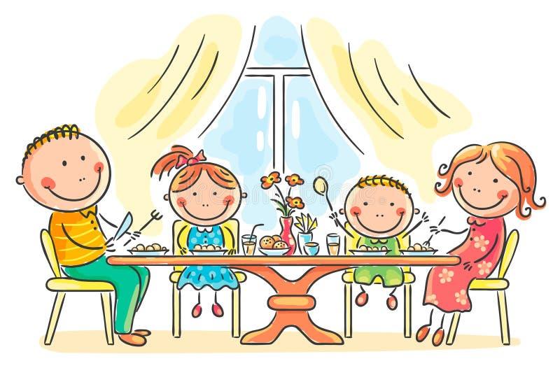 Familie, die Mahlzeit zusammen hat stock abbildung
