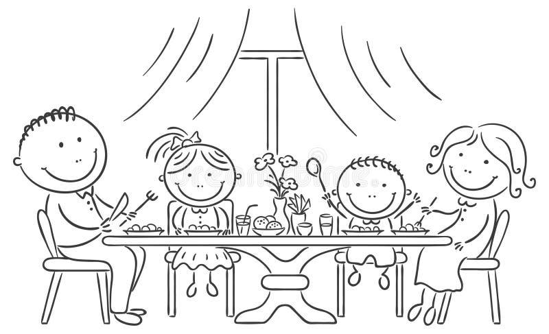 Familie, die Mahlzeit zusammen hat lizenzfreie abbildung