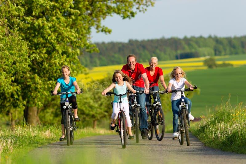 Familie die met jonge geitjes in de zomer met fietsen cirkelen stock foto