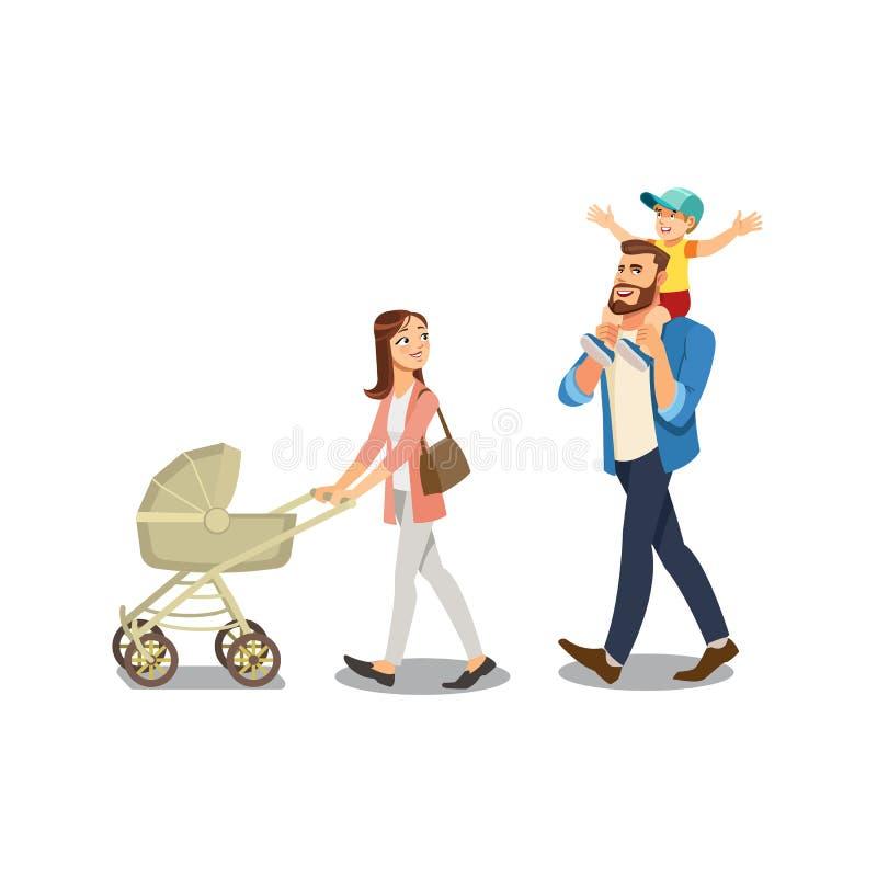 Familie die met Jonge geitjes Geïsoleerde Beeldverhaalvector wandelen vector illustratie