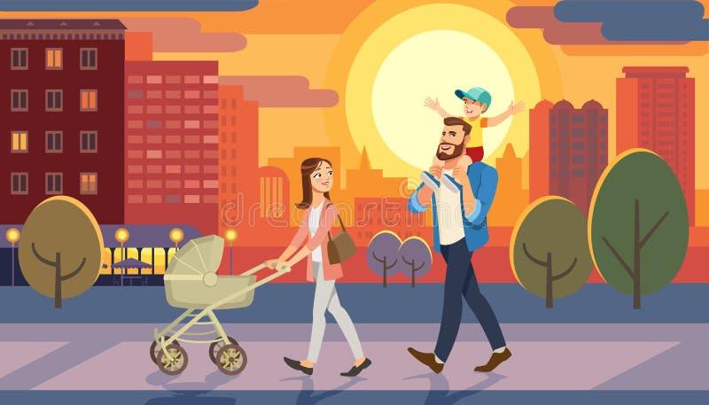 Familie die met miniatuurauto bij stadszonsondergang lopen Pretlevensstijl van beeldverhaalkarakters bij cityscape straat vector illustratie