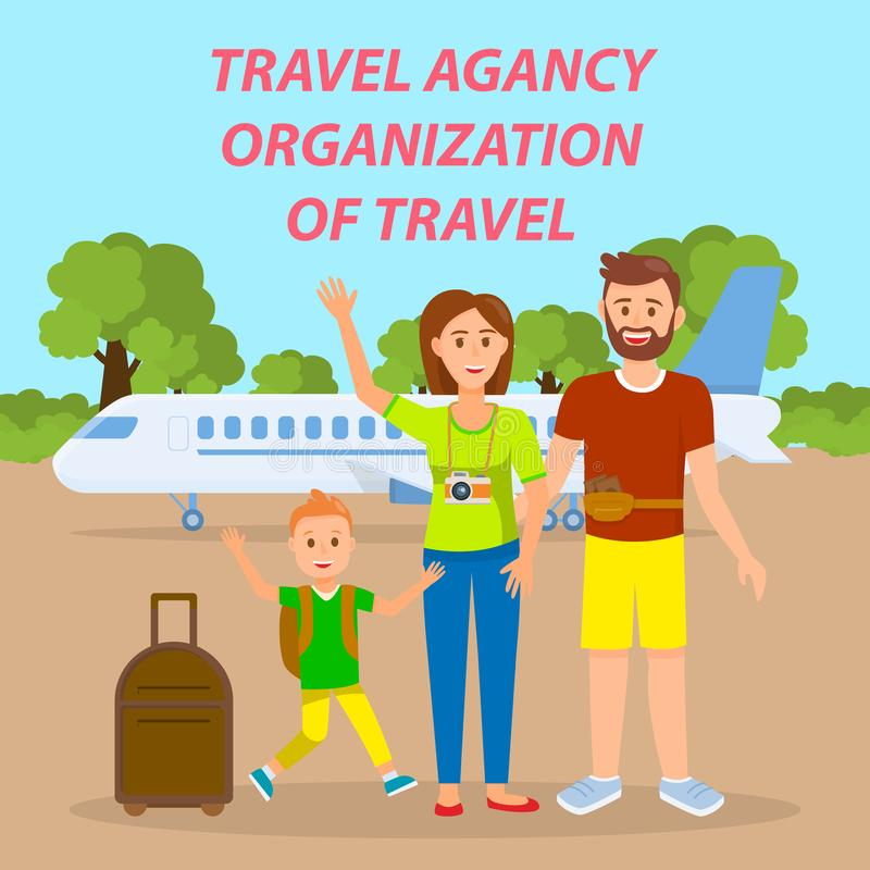 Familie, die mit dem Flugzeug Social Media-Fahne reist stock abbildung