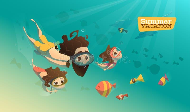 Familie die in mooie blauwe oceaan zwemmen royalty-vrije illustratie