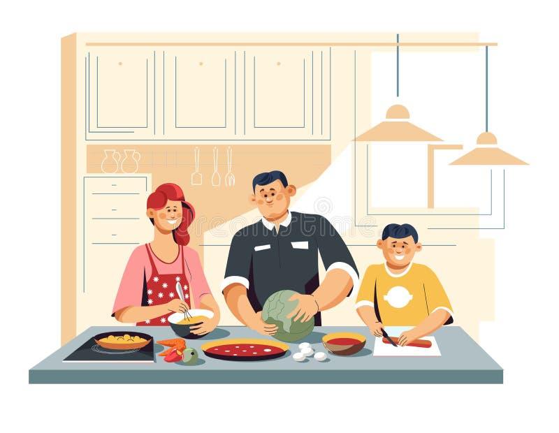 Familie, die Nahrung an den Küchengemüseeiern und -wurst kocht stock abbildung