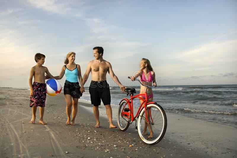 Familie die onderaan het strand loopt.