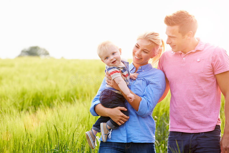 Familie die op Gebied lopen die Jonge Babyzoon vervoeren royalty-vrije stock foto
