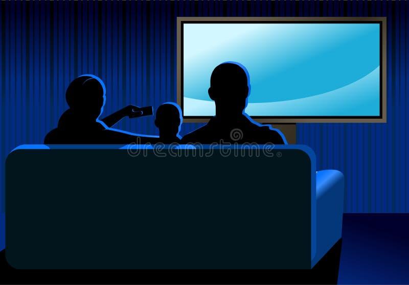 Familie die op TV let