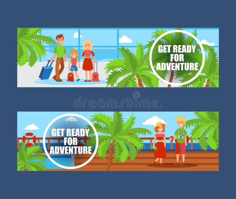 Familie die op vakantiereeks gaan banners Passagiers die met Bagage reizen Vadermoeder en dochter onder palmen stock illustratie