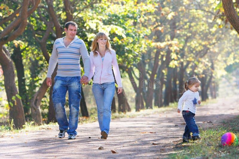 Familie, die in Park geht lizenzfreie stockbilder