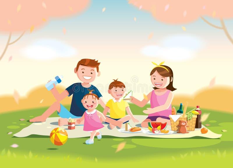 Familie, die Picknick genießt Sie sitzen auf dem Gras in einem Park, dem Korb mit Mahlzeit und den Spielwaren für die Kinder Unsc vektor abbildung