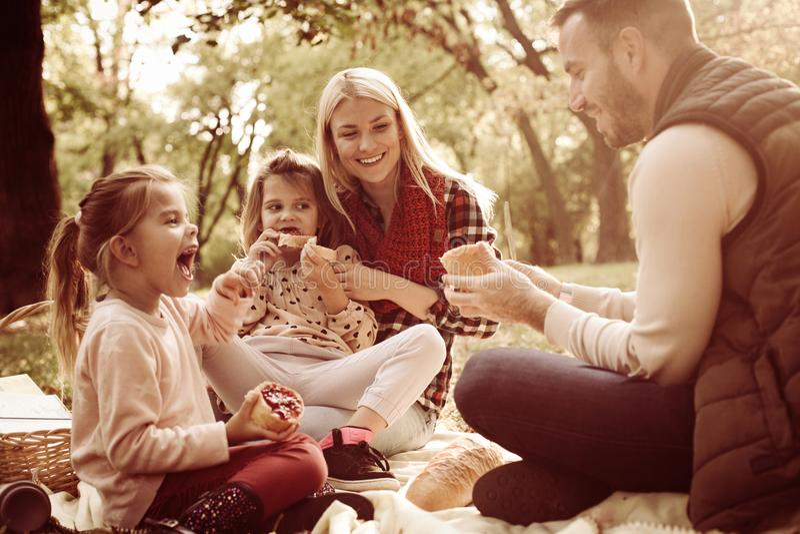 Familie die picknick op de herfstdag hebben stock foto's
