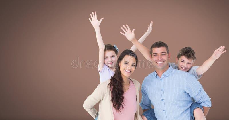 Familie die pret samen met bruine achtergrond hebben vector illustratie