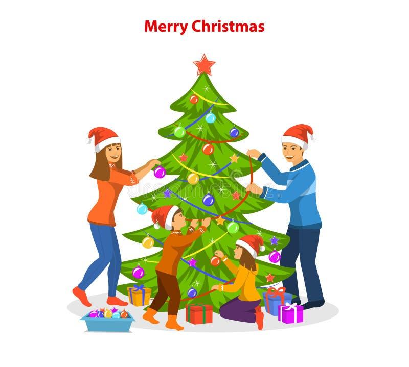 Familie die samen Kerstmisboom verfraaien, die Kerstmisvooravond voorbereidingen treffen te vieren royalty-vrije illustratie
