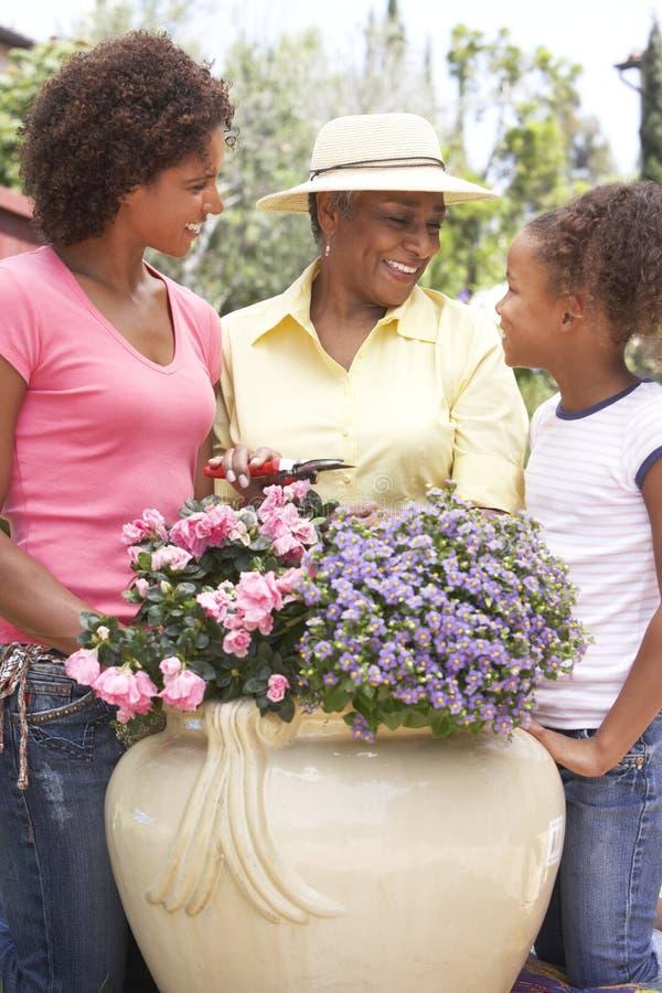 Familie die samen thuis tuiniert stock fotografie