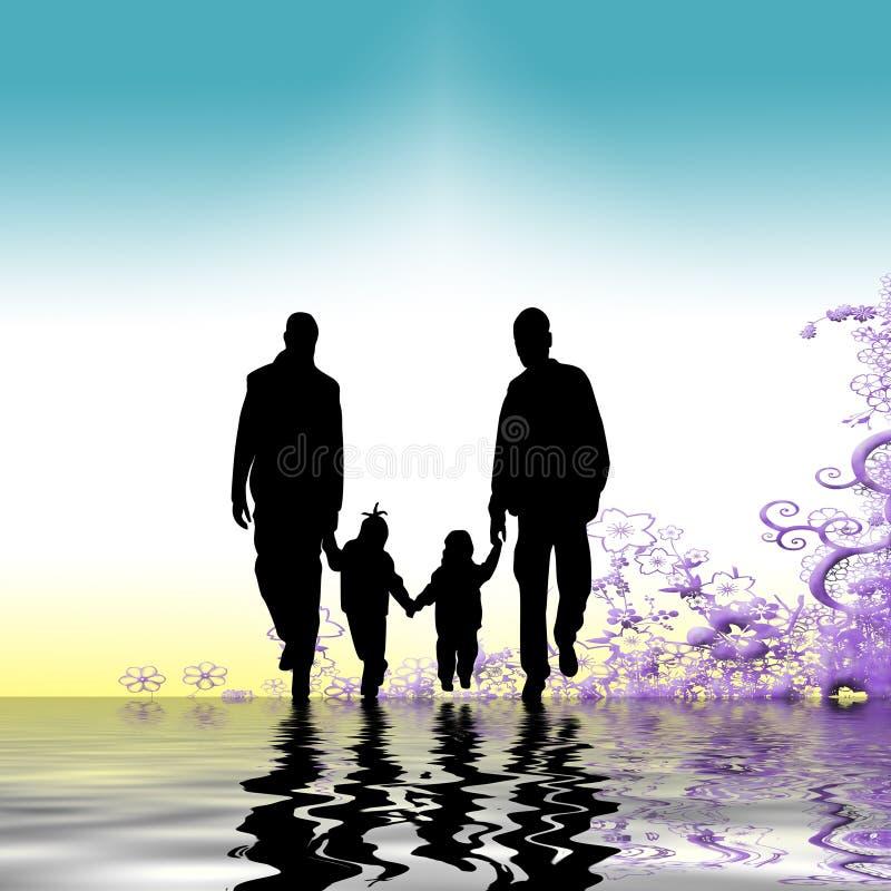 Familie die samen wandelt stock illustratie