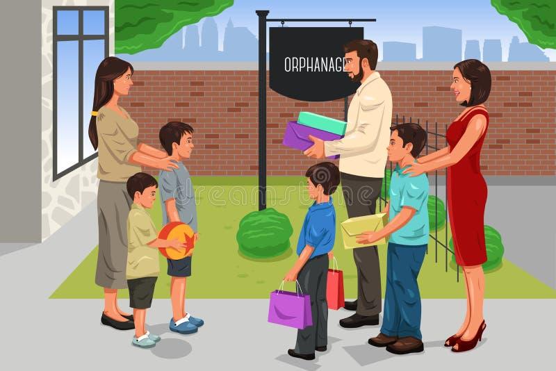 Familie die Schenking geven aan het Weeshuis stock illustratie