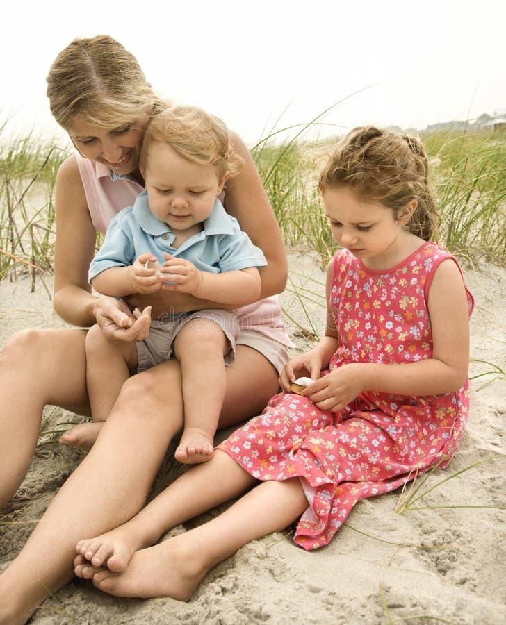 Familie die shells bekijkt stock afbeeldingen