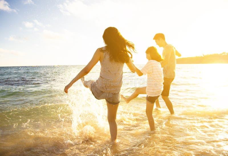 Familie, die Spaß auf dem Strand hat lizenzfreies stockbild