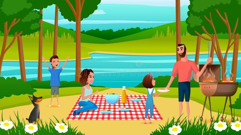 Familie, die Spaß auf Picknick-Karikatur-Vektor hat lizenzfreie abbildung