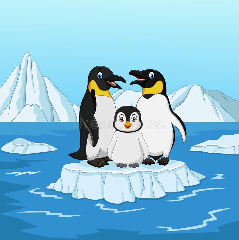 Familie die van de beeldverhaal de gelukkige pinguïn zich op ijsijsschol bevindt vector illustratie