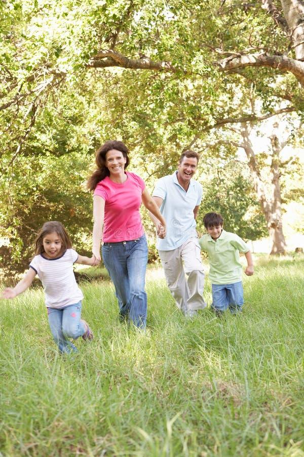 Familie die van Gang in Park geniet stock foto