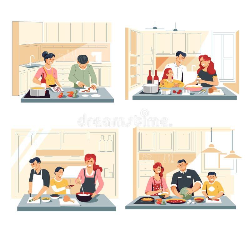 Familie, die zu Hause Nahrungsmittel- oder des Abendessensküche kocht lizenzfreie abbildung