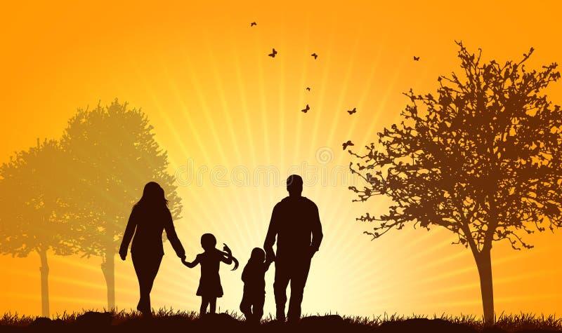 Familie, die zusammen geht lizenzfreie abbildung