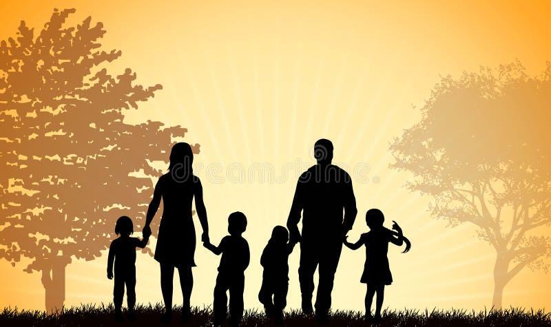 Familie, die zusammen geht vektor abbildung