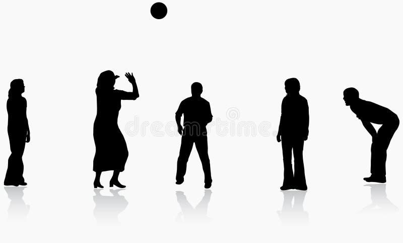 Familie, die zusammen Kugel spielt stock abbildung