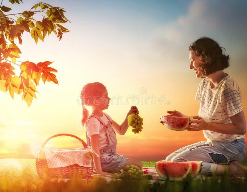 Familie, die zusammen picnicking ist stockbilder