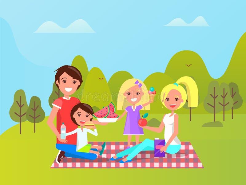 Familie, die zusammen Zeit, Picknick-Ferien verbringt vektor abbildung