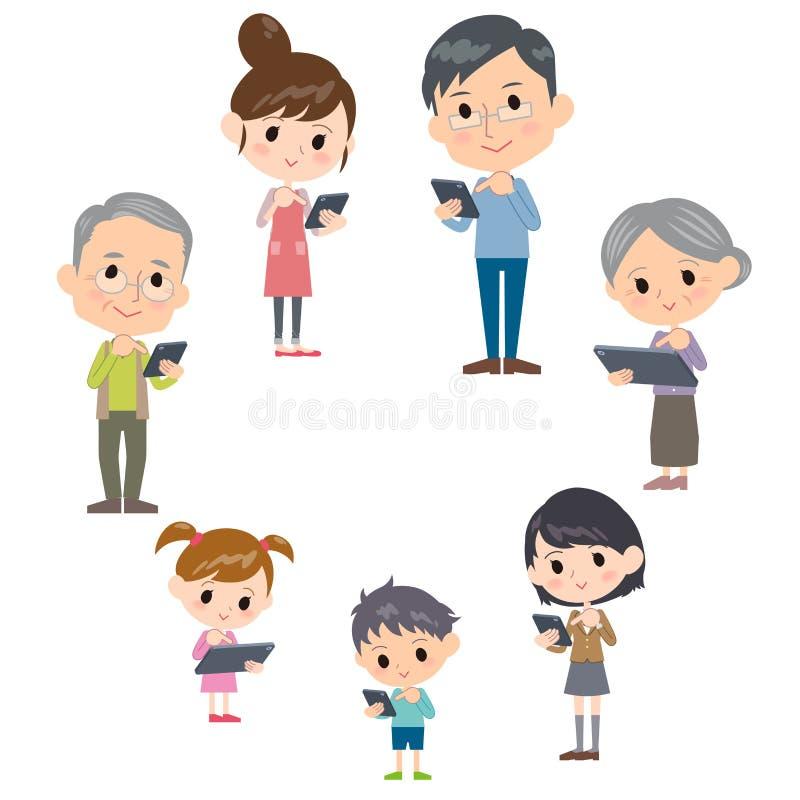 Familie drie communicatie van generatiesinternet smartphonelijst vector illustratie