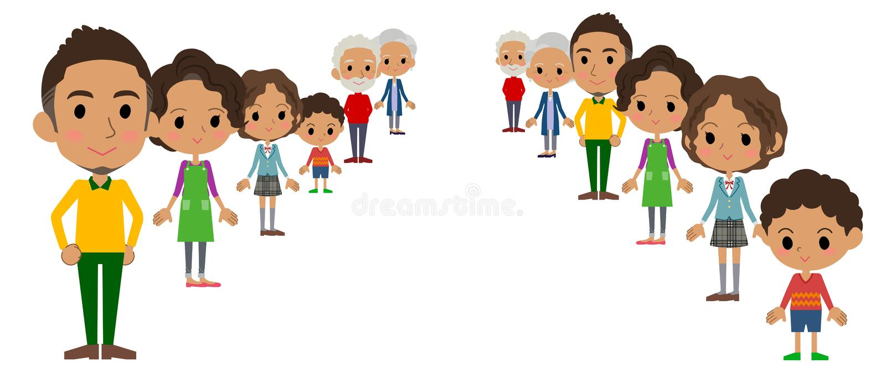 Familie drie generaties black_depth royalty-vrije illustratie