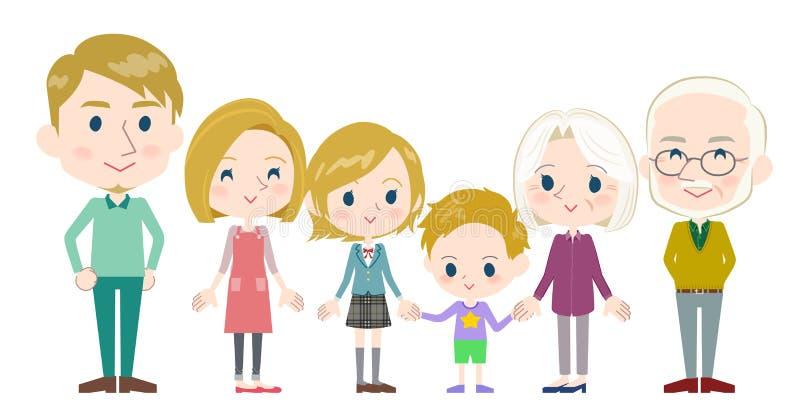 Familie drie generaties White_Side door kant stock illustratie