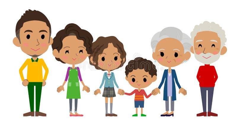 Familie drie generatiesblack_side door kant royalty-vrije illustratie
