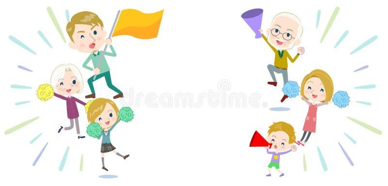Familie drie het toejuichen van generatieswhite_support vector illustratie