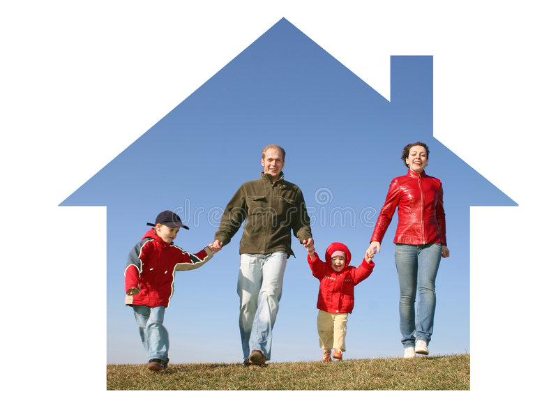 Familie in droomhuis stock afbeeldingen