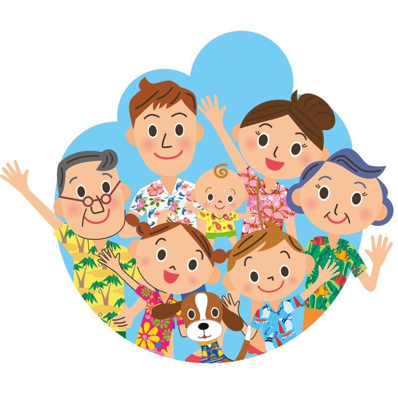 Familie in een Hawaiiaans overhemd vector illustratie
