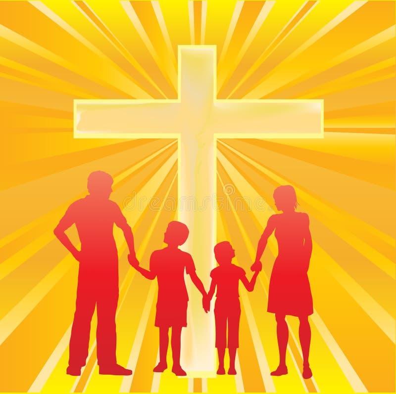 Familie en het Kruis vector illustratie