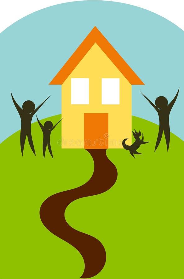 Familie en huis   vector illustratie