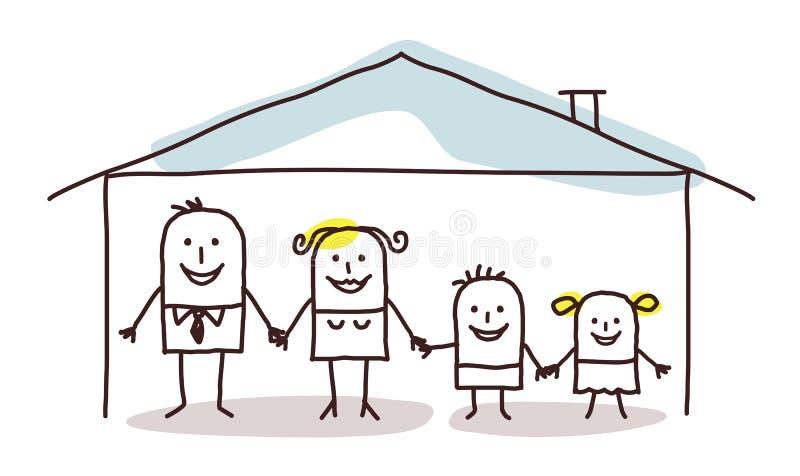 Familie en huis royalty-vrije illustratie