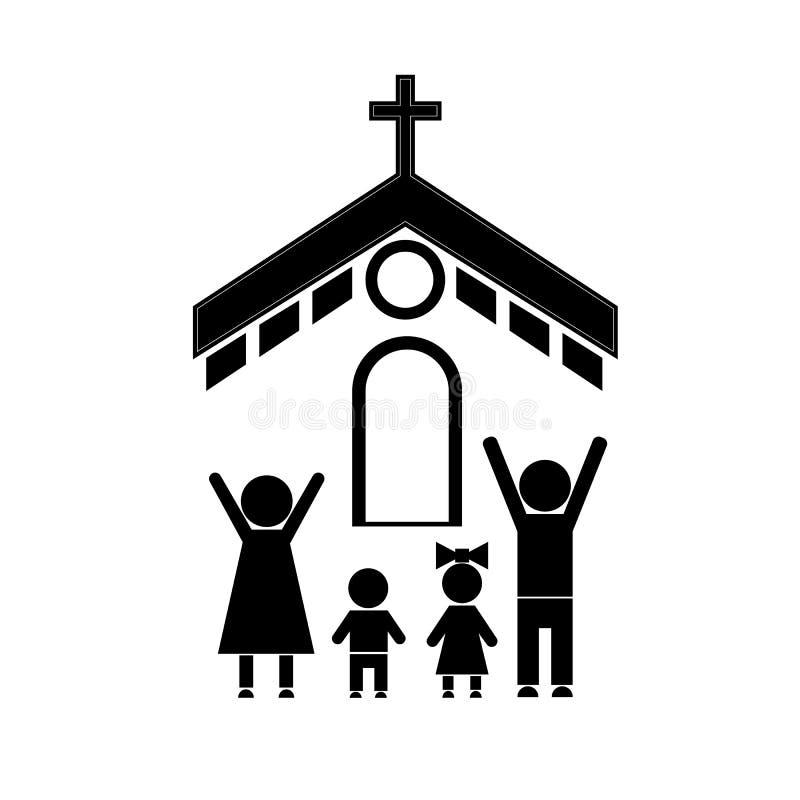 Familie en Kerk vector illustratie