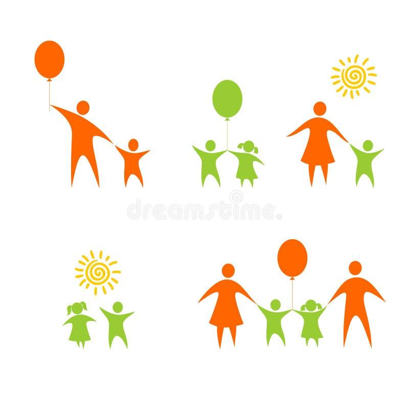Familie en kinderen stock illustratie