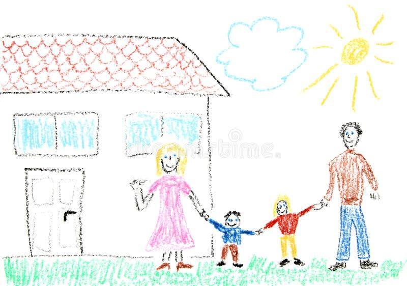 Familie en nieuw huis vector illustratie