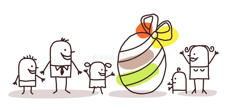 Familie en paasei stock illustratie