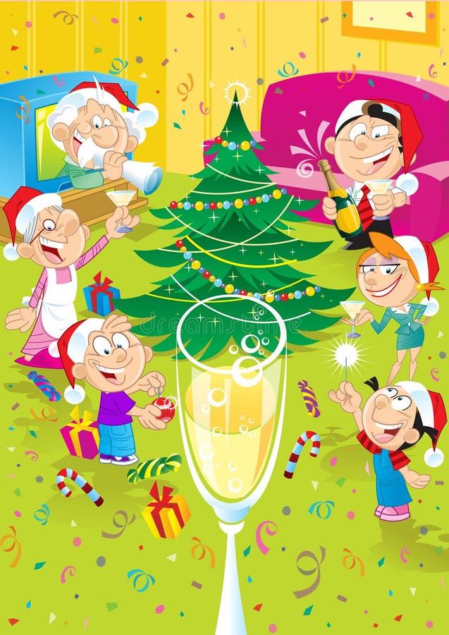 Familie feiert Weihnachten stock abbildung