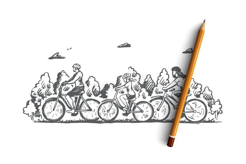Familie, fiets, sport, activiteit, samen concept Hand getrokken geïsoleerde vector royalty-vrije illustratie