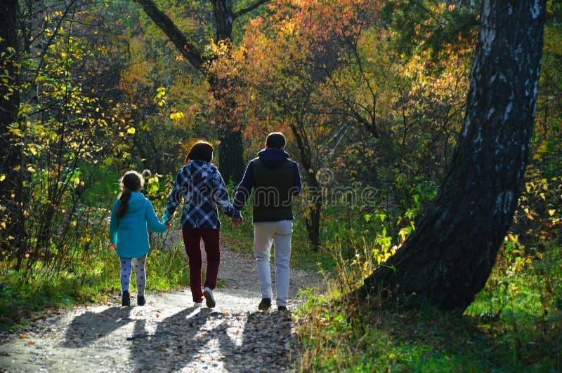 Familie geht in Herbstwald lizenzfreie stockbilder