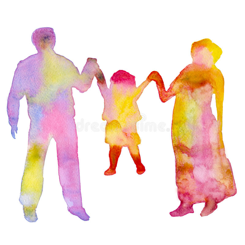 Familie Gekleurd silhouet van mensen Geïsoleerd op een witte achtergrond De illustratie van de waterverf vector illustratie